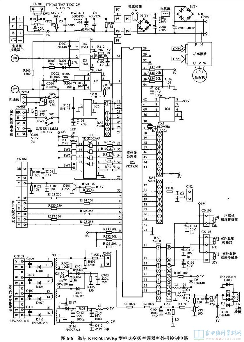 海尔柜机空调说明书_海尔KFR-50LW/Bp型柜式变频空调电路图 - 家电维修资料网
