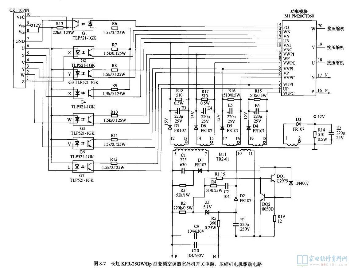 长虹kfr-28gw/bp型变频空调室外机开关电源,压缩机电机驱动电路