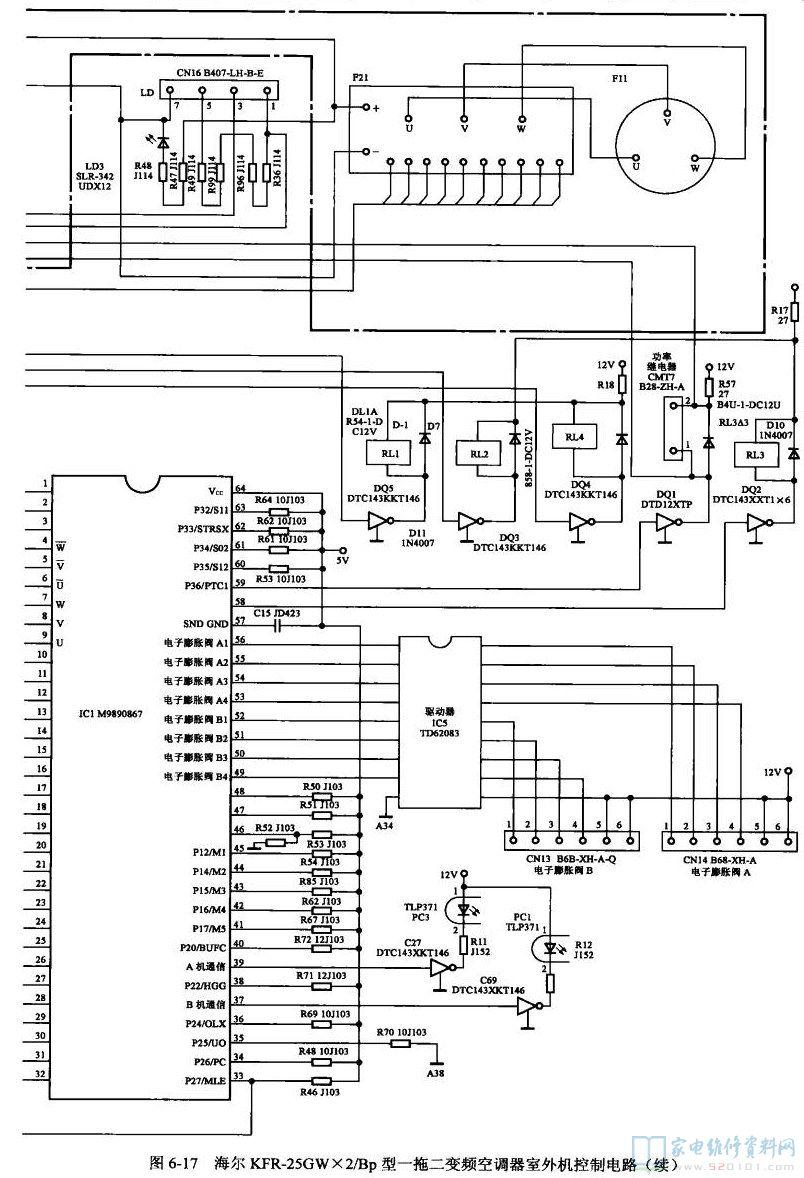 二变频空调室外机控制电路电气接线图-海尔KFR 25GW 2 Bp型一拖
