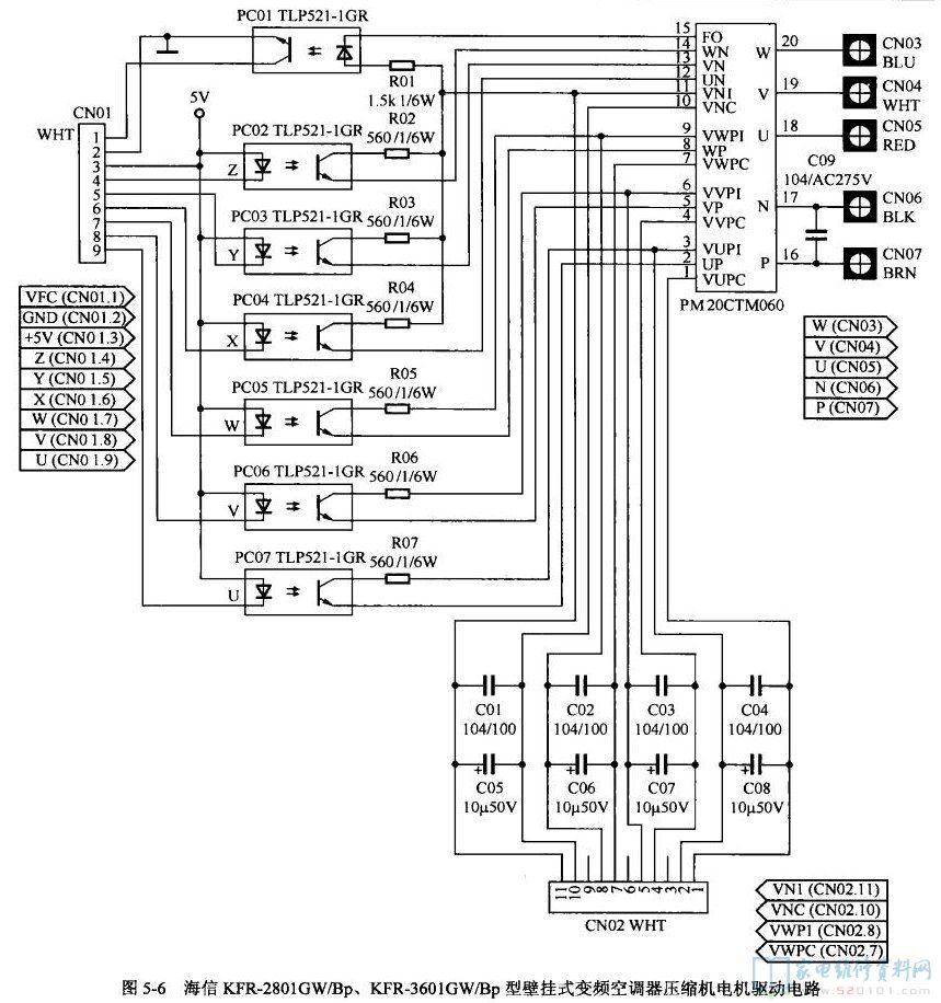 空调自动开关机_海信KFR-3601GW/Bp型壁挂式变频空调电路图 - 家电维修资料网