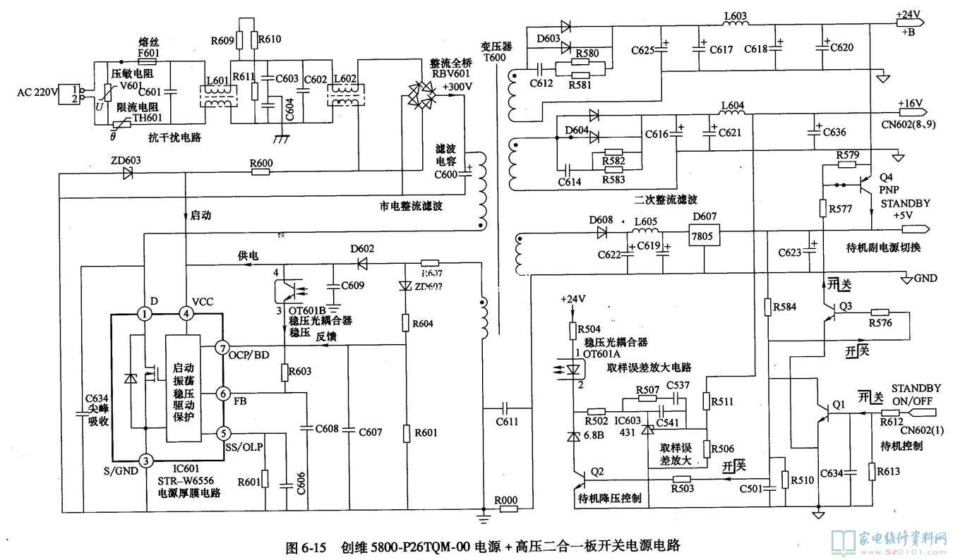 创维5800-p26tqm-00电源和高压二合一板原理与维修 .