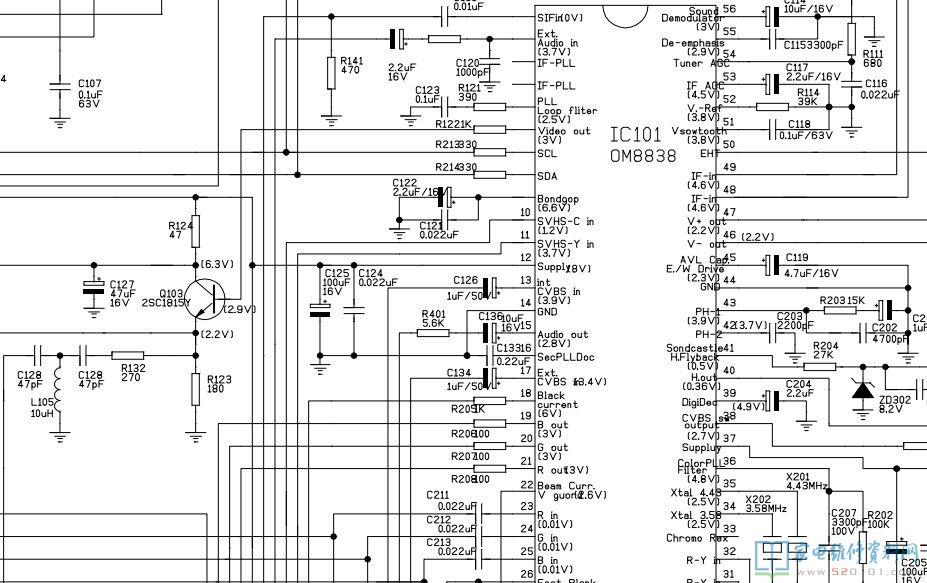 創維8000-2199A彩電視頻輸入黑屏故障維修