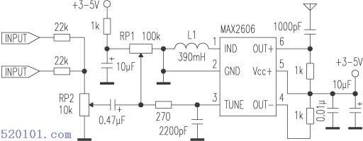 max2606是新型调频发射芯片,内部集成了变容二极管的压控振荡器,只