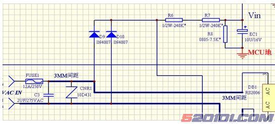 目 的 近期市场上反馈我司电磁炉(包括04年和05年产品)中有多款,在240V-280V间时出现的E8保护或者E7低压保护,而无法使用。针对这种特殊情况,特作以下维修指引。 分 析 高低压保护的原理:单片机检测电网电压,电压过高(250V以上)或者过低(150V以下)则会出现高压保护E8或者E7保护,以保护电磁炉不受电压影响而烧坏。 04年及05年产品的电压取样电路分析对比如下: 600)this.