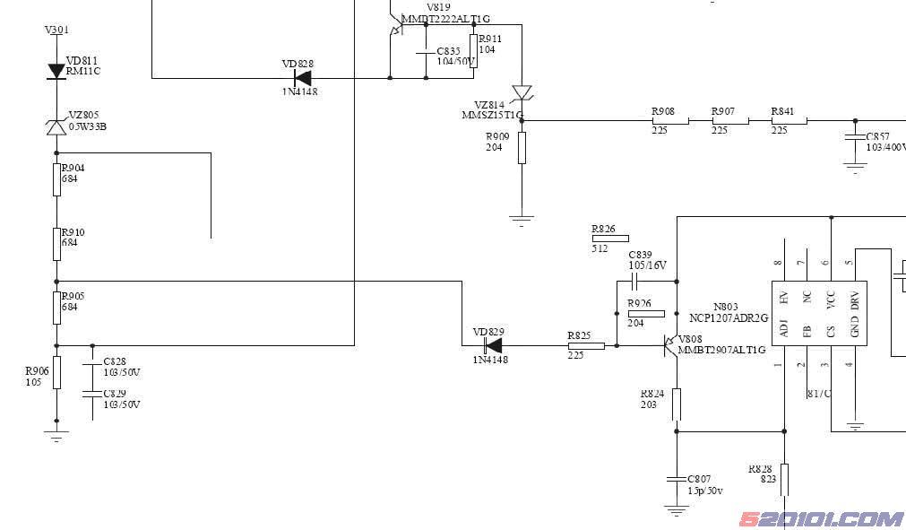 (4)5V_M的输出控制及5V_M输出短路保护: 在输出的电源中,15V_VCC受控于V807,+5V_M受控于V813。在主电源(PWM)12V建立的情况下,加到V813的栅极,致使V813导通5V_M才有输出,如图5所示。V812及VZ816组成5V_M短路保护;在正常开机工作情况下,V812的基极被VZ816箝位在3.6V,V812的发射极为5V(5V_M),V812反偏截止;当5V_M出现短路时,V812的发射极电位小于3.
