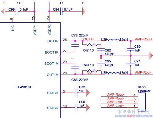 TFA9810T芯片,是一种具有立体声功能绿色能效模拟D类功放集成电路,该音频放大器主要由全差分输入和全桥BTL输出结构的双通道功放和二阶巴特沃思滤波器构成,供电电压15 V时,功放可向两个8 扬声器提供10 W2输出功率,实际转换效率可达90%,总谐波失真小于7%,1 kHz正弦波音频输出无交越失真,无明显EMI干扰,功放壳体相对温升25。具有功耗低,可取消散热器,有很高的可靠性,8~20 V单电源供电,外部增益可调,待机节能等优点,非常适合应用于平板类电视产品、多媒体系统。 TFA9810T输入端