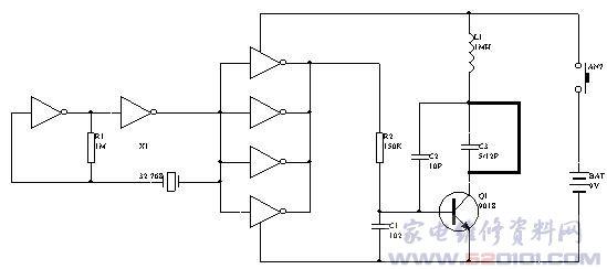 上图中(点击图片可以放大),六反相器406中的A、B两只反相器与晶体X1构成32.768kHZ的信号发生器,然后通过反相器C、D、E、F并联驱动去调制以Q1为核心的高频信号发生器,输出高频调幅波,图2中的Q1等元件构成超再生接收电路,接收发射器发出的高频信号并解调出32.768kHZ 的信号.通过C4、R3耦合并经反相器A、B、C放大、整形,再经晶体X1滤波后由Q2触发叮咚音乐片发出叮呼的门铃声。本遥控门铃的有效控制距离约为40米左右。