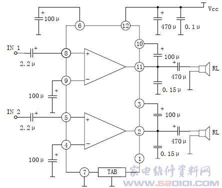 yd2206双声道音频功率放大器