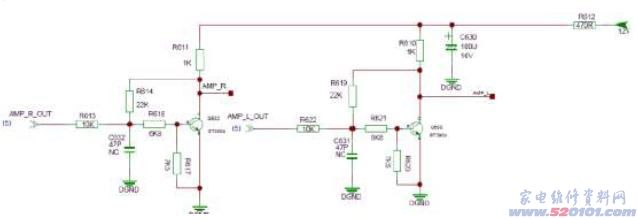 故障现象:声音小 检修及分析:试各信源声音都小,说明是公用部分有问题。功放使用的是模拟功放TPA3113D2。主IC输出的信号在到达功放前首先进行了一次放大。放大电路及测试点如下:从此放大电路的输出注信号声音正常,但从此放大电路输入的基极注信号声音小,说明是此部分有故障,测这两个三极管的各脚电压,发现C极电压只有0.