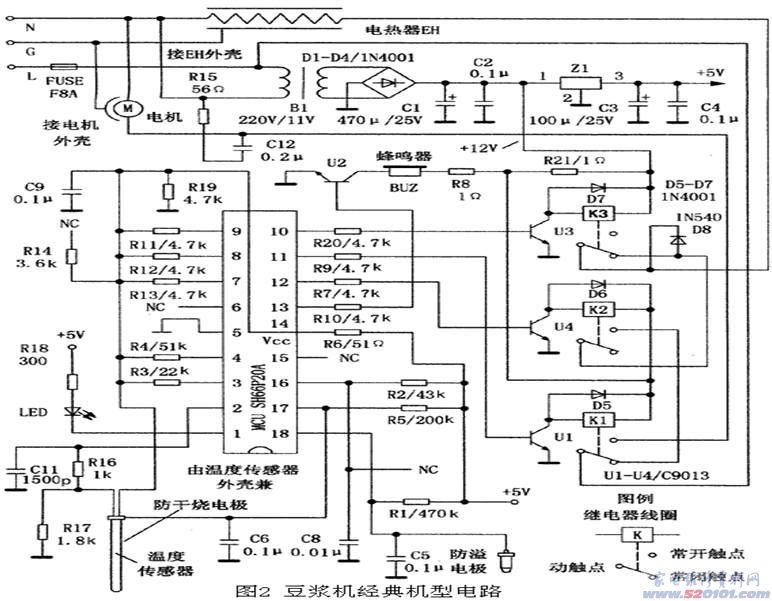 美的洗衣机_豆浆机经典机型电路原理图