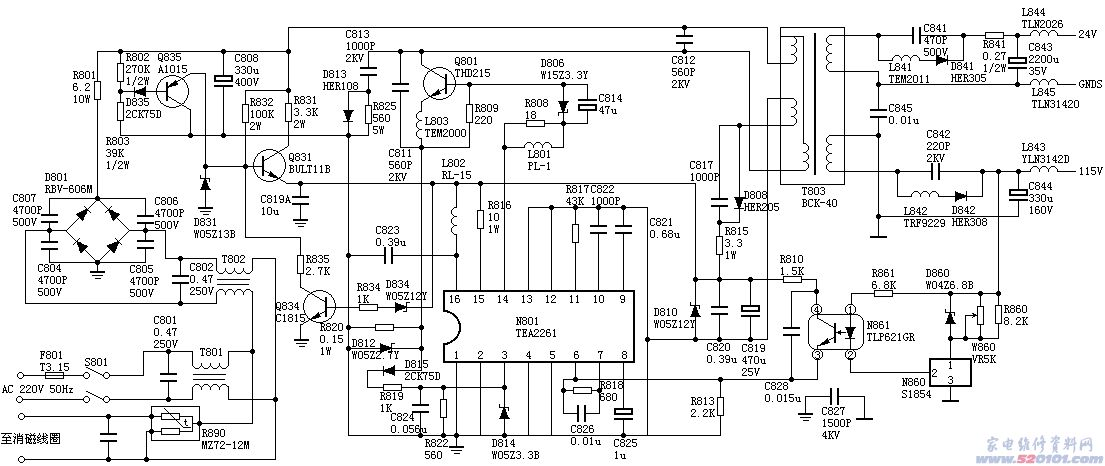 Q851为12V短路保护电路,如12V短路,则Q851导通,Q814截止,此时相当于遥控关机。 M15L机芯还有几路保护,都是针对IC601的(42)脚的,在此不讨论。 辅助电源和遥控关机电路 正常开机时,CPU的(6)脚输出高电平,使Q814导通,此时Q810、Q811、Q812、Q813均截止,辅助电源不工作。 在待机时,CPU的(6)脚输出低电平,使Q814截止,Q811导通,IC801的(5)脚经R853接地,主电源电路停止工作,另一方面,300V直流电压经R809、R810给Q810B极提供偏置