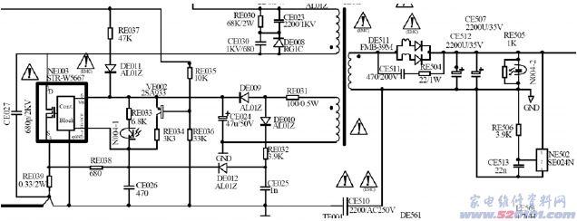 二、背光灯24V供电介绍及工作原理 电路特点;由一块日本三肯公司的STR-W5667 (原理图位号;NE003)图1为背光灯部分原理图,图2为比较容易分析的简化图。 TLM-3277的液晶屏背光部分是由16根CCFL(冷阴极荧光灯)组成,所需功率约130W。所以该24V背光灯供电源的功率输出约大于140W。 该电路的供电由主电源的B+PFC(380V)提供。STR-W5667的启动Vcc由主电源PFC部分蓄能电感TE001的付线圈产生的感生电势经DE001整流后提供,该Vcc的大小于主电源的负载小信号电路