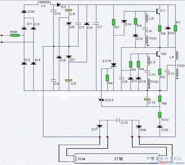 欧普吸顶灯电子整流器电路原理图