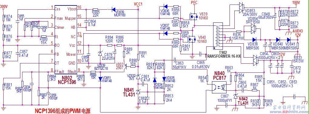 注:本文以海信2264电源板为例讲述。 RSAG7.820.2264板正面图  RSAG7.820.2264板背面图  图1、电源整体方框图示  一、电源输入、滤波、整流部分电路: 220V电压经过保险管F802,压敏电阻RV801过压保护,进入由L807、C802、C803、C804、L806等组成的进线抗干扰电路.滤除高频干扰信号后的交流电压通过VB801、C807、C808整流滤波后,得到一个300V左右的脉动直流电压.