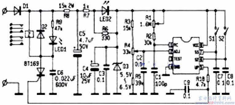 目前该时间继电器内置延时芯片有多种型号:F6445C、RS6445C、LM8445、QA640896等,上述型号主要区别于封装形式(单列直插和双列直插)而内部逻辑功能均相同。下面以F6445C 为例给予说明: 管脚介绍 FIN频率输入端:该端内有电压比较器,可与外接阻容网络组成振荡器,产生主时钟信号; ADJ电压调整端:该端加入的调整电平和电路内部的窗口比较器、放电电路、RS 触发器共 同组成主振荡器,可方便调整主频率; VDD、VSS电源正、负端; A、B电平预置端:分频选择端,开关悬空(或接下拉