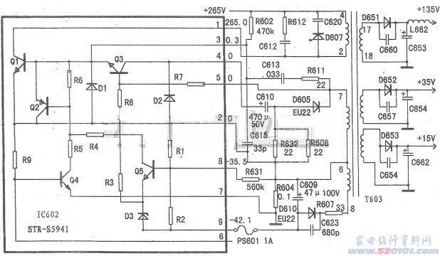 维修电工初级技能_STR-S5941开关电源厚膜集成块参数和电路应用 - 家电维修资料网