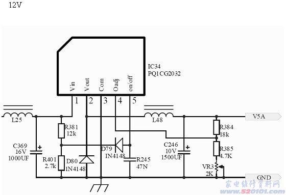 输出的5v m由ne304的fb回送到ne304内部的pwm控制电路,控制k断开,此时