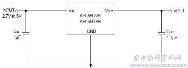 低漏电流低压差稳压电路apl5508