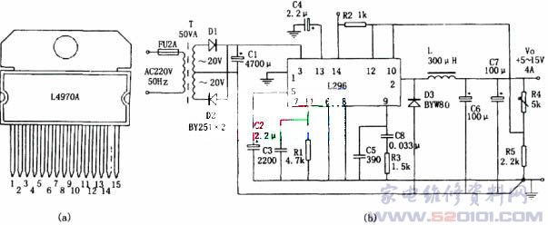 由l4970单片大电流开关电源芯片组成的稳压电源