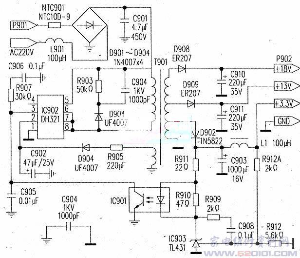 IC902是本板的核心元件,它是个内含功率MOS管的控制IC。如果按其上面所印的型号去购买此IC,会很难买到,这是因为封装IC的厂家可按订货方的意思打印成另类型号,结果就是,同样的IC芯片在封装上打印出来的型号就会五花八门。在本例中,此IC各脚的定义有一个特征,即脚、脚和脚是同为输出端(内部MOS管的D极),据此可知,它是常见的DH321。 交流220V整流滤波后的+300V加在DH321的第脚,利用IC内的降压部分产生启动电源,可节省个功率较大的启动电阻。启动后则有D904向此IC提供Vcc电源。