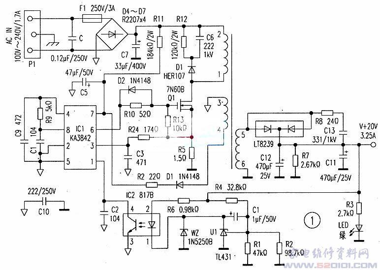近日笔者接修了一台笔记本电脑的电源适配器.此电源适配器系副厂件(非原装配送品。属三无产品).虽然检修及故障排除并无多大困难,但造成故障的原因却耐人寻味。 该电源适配器是因无输出电压而送修的。接通交流电源,绿色指示灯不亮。检查交流输入的线缆并无断路.由此确定系电源内部元件损坏所至。用一字螺丝刀将外壳撬开查看线路板,发现如图1中的保险丝F1已熔断。怀疑初级元件有击穿过流现象。于是重点对D4~D7、C7、Q1作检查,未发现异常,故将F1更换后通电试机,但电源还是没有输出。这时测主滤波电容C7两端+300V