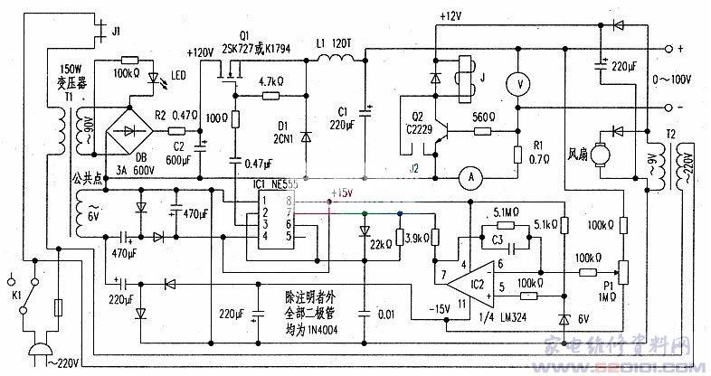 因科研的需要,要做一台0V~100V/1A连续可调的稳压电源,它是用来给一个近似于恒流的负载供电的。设计制作了图的开关电源,从图电路中可知。它是一台脉冲调频式的开关电源,开关管由高压大功率场效应管Q1承担,它与L1、D1和C1构成主回路,即串联开关变换器。IC1(NE555)组成一个压控振荡器,它产生的脉冲经0.