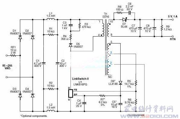 下图所示为一个5 W通用输入电源的电路图,该设计采用了Power Integrations的LinkSwitch-II系列产品LNK-616PG。本设计适用于手机充电器、USB充电器或任何需要5V电压1A电流要求的应用。   在本设计中,二极管D1到D4对AC输入进行整流。电容C1和C2对经整流的AC进行滤波。电感L1和L2以及电容C1和C2组成一个型滤波器,对差模传导EMI噪声进行衰减。这些与Power Integrations的变压器E-sheild技术相结合,使本设计能以充足的裕量轻松满足EN550