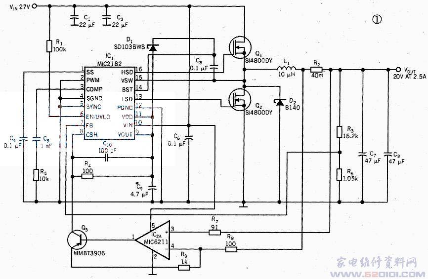 几家半导体制造商所提供的电流型降压控制器的输入电压范围是26v~36v.但输出电压范围只能从基准电压到大约6v.这种输出电压的局限性是电流检测放大器的共模电压限制引起的。在实际应用中.要求的电源应能为打印机、服务器、路由器、网络设备和测试设备产生较高的输出电压。采用常规降压稳压器来提供较高的电压是一个难题。 图1所示电路可解决这个难题。采用一个外部运算放大器、一个小信号pnp三极管和一个电压降压稳压器Ic1,在负载电流高达2.