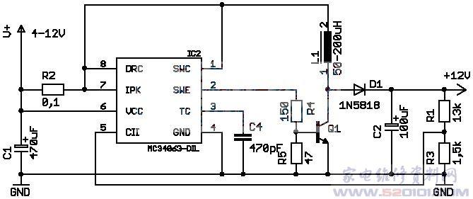 mc34063升压扩流电路原理图