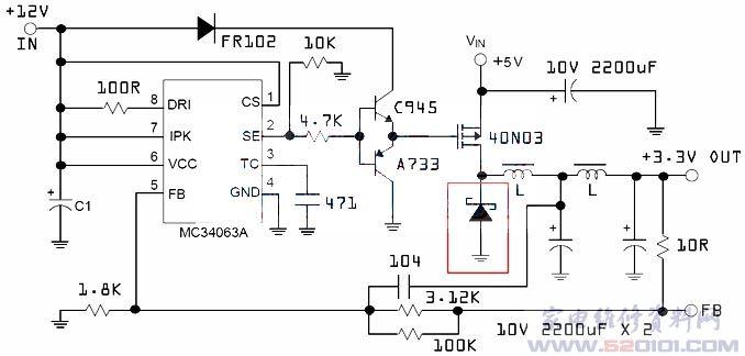 5v开关电源电路图_MC34063大电流降压电路图 - 家电维修资料网