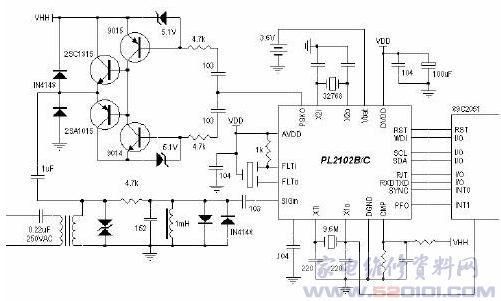 概述:PL2102是专为电力线通讯网络设计的半双工异步调制解调器。它仅由单一的+5V电源供电,以及一个外部的接口电路与电力线耦合。PL2102除具备基本的通讯控制功能外,还内置了五种常用的功能电路:可数字频率校正的实时钟电路,32ByteSSRAM,电压监测,看门狗定时器及复位电路,它们通过标准的I2C接口与外部的微处理器相联,其中实时钟与32BytesSRAM在主电源掉电的情况下可由3V备用电池供电继续保持工作。PL2102是特别针对中国电力网恶劣的环境所研制开发的低压电力线载波通信芯片。由于采用了直接