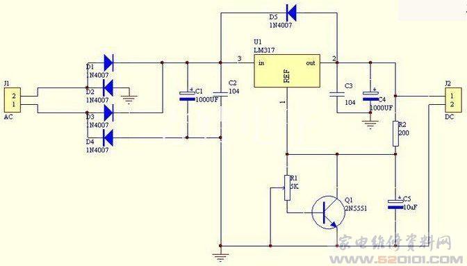 自制简易可调直流稳压电源 电路图图片
