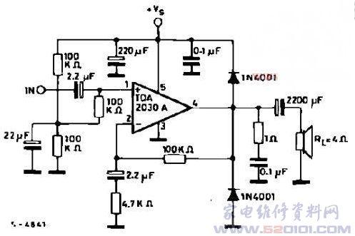 一款单电源的lm1875与tda2030功放 电路图图片