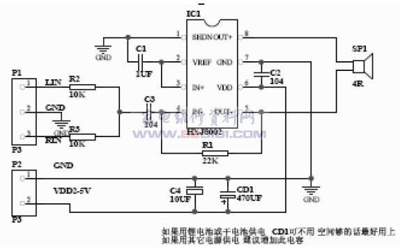 概述:HXJ8002是和兴健半导体生产的一个单通道3W、BTL 桥连接的音频功率放大器。它能够在5V工作电压,3Ω负载,提供THD<10%、平均值为3W 输出功率。HXJ8002 是为提供大功率,高保真音频输出而专门设计的. 极少的外部元件从而简化了线路设计、节省了电路板空间、降低了生产成本,并且能工作在低电压条件下(2.