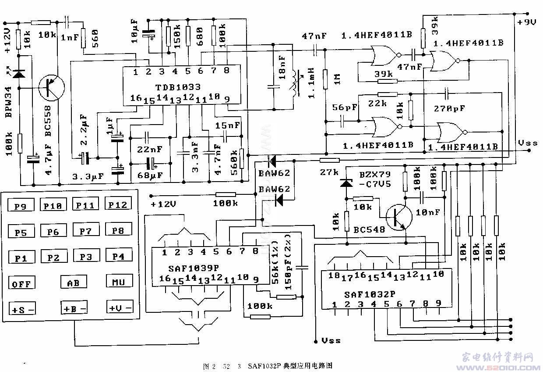 概述:SAF1032F是红外线遥控接收译码集成电路,适用于电视机、音响设备和工控设备等。其内部电路由数字移位寄存器(SRDT)、定时器计数器(CTIM)、比较器(K M)、二进制输出标志位(BWF)、二进制选择标志位(SELF)、缓冲寄存器(BFR)、模拟译码器(ANDEC)、线性寄存器(LIN)、数模转换器(D/A)、比较器计数器(C MP)和位计数器(BITC)等组成。 一、SAF1032F引脚和特性