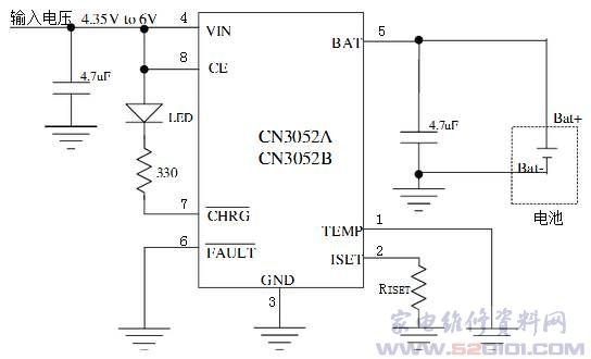 锂电池恒流/恒压充电电路cn3052b