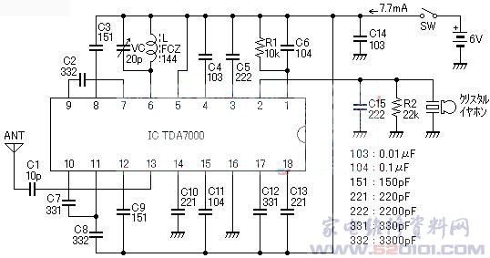 用tda7000单片调频收音机电路