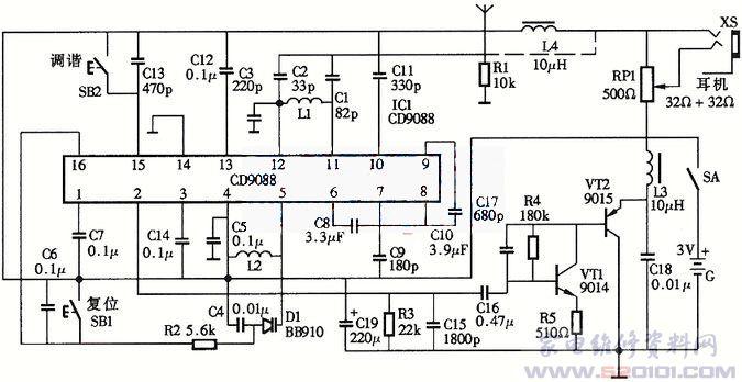 CD9088电调谐自动搜台FM收音机电路图-利用CD9088单片电调谐收音高清图片