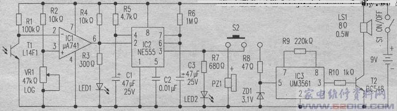 电路安装好后放入小盒里.小盒前面板上钻个5mm的小孔.便于光线照入光传感器。  调整电位器VR1,直至LED2停止发光,蜂鸣器不发嘟嘟声.同时保持LED1发光为止。这时的VR1位置可以维持最佳的光线强度.而LED1在有阴影覆盖时仍能发光。测试时在阴影告警器前方移动一张纸片.若LED2发光且蜂鸣器发出嘟嘟声。则表示光传感器已检测到阴影。