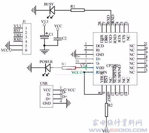 用CP2102芯片制作USB转串口电路- 家电维修资料网