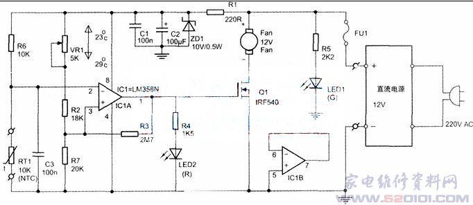 二、制作要点   PCB元件布局和底面铜印刷线图见上图、下图(略),用常规热转印方法就可以很容易制作好。电路所采用的NTC温度传感器是很常见的,在一般元器件商店就能轻易买到;而其他所有电阻均选用1/4W碳膜电阻,误差5%那一级就可以;小电容采用体积较小的独石电容,也可以用一般瓷片电容,VR1采用多圈精密可调电阻,方便准确设置好启控温度。电源是用DC12V的,需外接。继电器那一款如负载是用独立电源供电,则温控板的电源能提供电流大于50mA就行了,故此几乎所有DC12V的电源适配器都能用。如果温控板跟负载是共