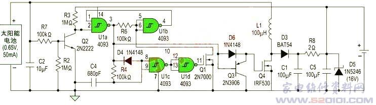 采用单节太阳能电池对3~16V电池进行在线涓流充电