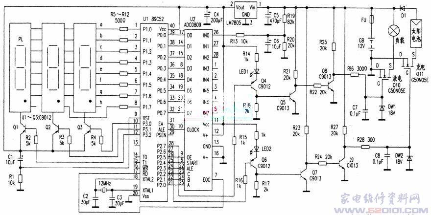 用AT89C52制作太阳能电池数显充放电控制器
