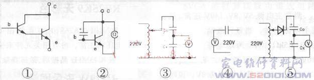 在家电维修过程中,因电容漏电或容量变化而引发的故障可谓屡见不鲜,且故障现象各异。一般的指针万用表和部分数字万用表都无法测量电容,特别是那些小电容,给维修造成很大的不便。在此,我给大家介绍几种小容量电容的测量方法,供参考。 方法1:找一个250的晶体三极管(要求穿透电流要小),如一时找不到,可用两只同型号的三极管复合成达林顿形式,见图1。将被测电容并接在三极管的ce结(若为有极性电容则电容正极接三极管c极),然后用万用表R10k挡,黑表笔接c极。红笔接e极,见图2,观察表针瞬时摆动程度。照此法用几个已