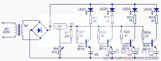 本充电器电路简单,元件易取,它对各节镍镉电池分别充电,充足电即自停。电路见附图所示,充电前,先调节R4,使三端可调稳压器LM317的输出电压为预定值Vo,当充电电池的电压Ve上升到Vo-0.65V时,晶体管截止,充电终止,同时相应的充电指示灯LED熄灭。其充电电流由R11-R14所限制。