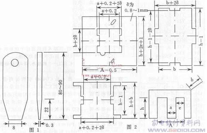 早期家用电器中的电源变压器(E型变压器下称变压器)都是铁芯E型双线圈式(非开关电源用)。由于使用不当或因产品自身质量问题,损坏率较高。 早期家用电器中的电源变压器(E型变压器下称变压器)都是铁芯E型双线圈式(非开关电源用)。由于使用不当或因产品自身质量问题,损坏率较高。损坏后需修理时,若有同型号的市售产品代换是十分方便的。但损坏的变压器是进口产品,由于国产变压器外型及体积等不能直接替换,需要修理或改制这类变压器,对不懂这方面知识的初学者来说是十分头痛的问题。本文就此类变压器的修理向读者介绍如下办法和