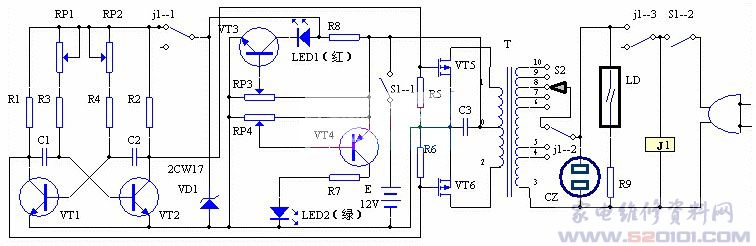 当元件全部焊接完成检查无误时,接通12V电源,这时电路应能起振,用示波器观察VT1、VT2集电极电压波形,调节RP1、RP2使之为50Hz,并且波形对称。改变电源电压,调节RP3使LED1在电源电压为16.8V时点亮,电源电压在16V以下时熄灭。调节RP4使LED2在电源电压大于11V时点亮,小于10.