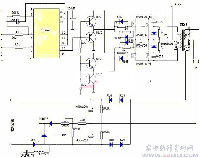 48v逆变220v简单元件接线电路图