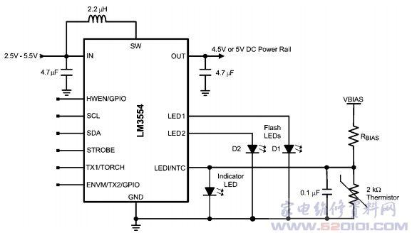 高端双LED闪光灯驱动电路LM3554