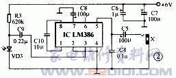 频放大集成电路LM386进行功率放大.VD3为红外线接收管.-LM386